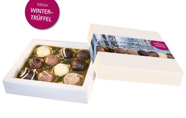 Kleine Pralinenmischung im Geschenkkarton – Edition Wintertrüffel